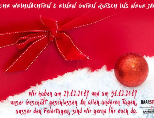 Öffnungszeiten zwischen den Weihnachtsfeiertagen & Silvester